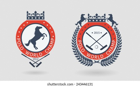 Polo champ logo. Horse badges. Equestrian competition. Polo sport game emblem. Print for polo team