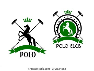 Polo club sporting emblems with rearing up horses, crossed mallets and horseshoe on the background, decorated by crowns and ribbon banners