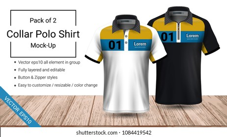 Polo collar t-shirt template, Vector eps10 file fully layered and editable prepared to showcase the custom design, by simply editinng the object and color, perfect for your team, or any occasion.