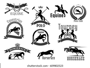 Polo or equine sport club vector badges. Horse races or equestrian jump show and racing contest symbols set. Icons of bat and whip, rider winner or horserace victory cup award and crown laurel wreath.