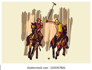Polo Game Illustrated art work