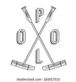 Polo logo. Vintage polo labels. Badges and design elements. Polo lettering. Polo stick. Premium engraving illustration of horse sport. Emblem for rewarding. Eps 8