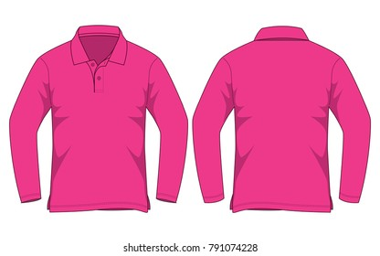 Polo long sleeve for template(Pink)