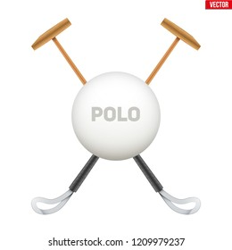 Polo mallet with big ball. Wood mallet equipment for horserider. Symbol of polo sport game. Vector illustration isolated on background.