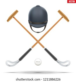 Polo mallet with horseman helmet and ball. Wood mallet equipment for horserider. Symbol of polo sport game. Vector illustration isolated on background.