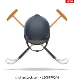 Polo mallet with horseman helmet. Wood mallet equipment for horserider. Symbol of polo sport game. Vector illustration isolated on background.