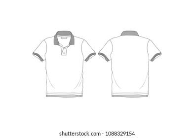 polo neck mens tshirt vector illustration template