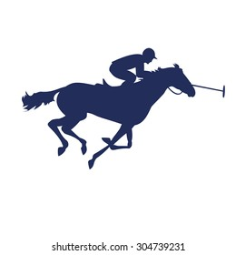 Polo player on isolated background. Horse polo silhouettes. Polo game. Silhouette of a polo player with horse. Colorful horse with rider or jockey. Equestrian sport