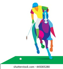 Polo player strikes the ball at full gallop