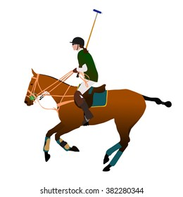 Polo player, vector illustration.