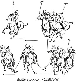 Polo players: Brush drawing-based vector illustrations showing polo players. Created in Freehand, rectified in Illustrator. Each horse with its rider is a compound path. Grouped in four compositions.