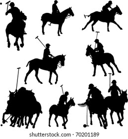 polo players horses vector silhouette