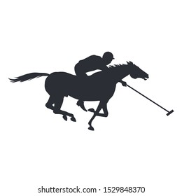 Polo rider horse. Vector illustration isolated on white background