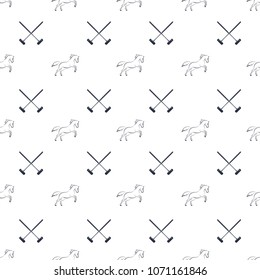 Polo seamless pattern, running horses and cross-sticks for polo. Vector illustration