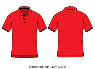 Polo Shirt Design (Red/Black) : Shirts long in back short in front
