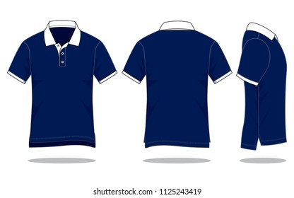 Polo Shirt Design Vector With Navy/White Colors.Hem Long In Back, Short In Front.