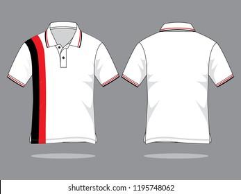 Polo Shirt Design : White/Black/Red