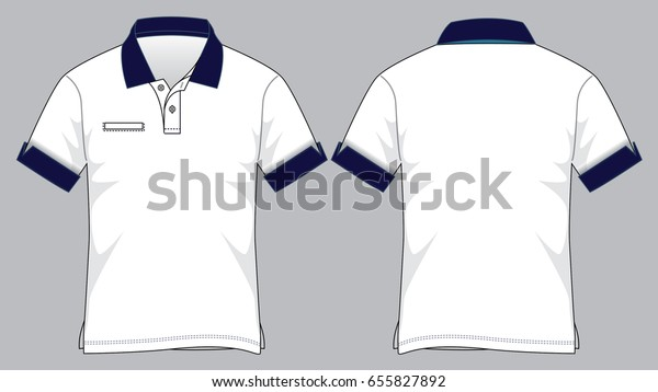 Polo Shirt Design Whitenavy Cuff Sleeve Stock Vector Royalty Free 655827892