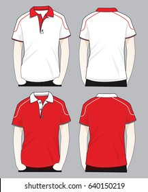 Polo Shirt Design(Red/White)