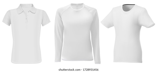 Polo shirt mock up. Men long sleeve apparel blank. Young fashion textile sport wear model set for promotion, editable design. White sweatshirt template front. Male tshirt and undershirt