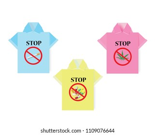 Polo shirt origami and marijuana leaf,drugs,tobacco  with forbidden sign ,vector illustration.