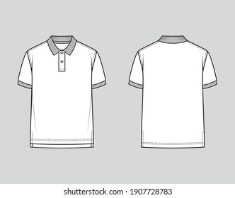Polo shirt with ribbed collar and armbands. Classic Fit. Vector illustration. Flat technical drawing. Mockup template.