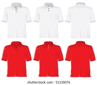 Polo shirt set. Without gradients, great for printing. White & red. Vector.