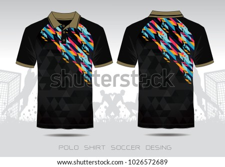 56d836ebfa8 Polo Shirt Sport Design. Black and Gold Mosaic pattern for design jersey or  football kit