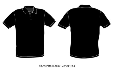 Polo shirt template vector black