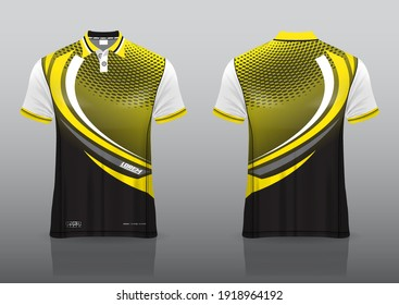 polo shirt uniform design, can be used for badminton, golf in front view, back view. jersey mockup Vector, design premium very simple and easy to customize.