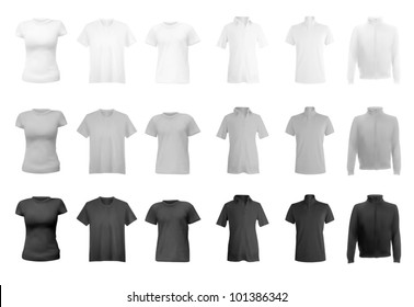 Polo shirts, t-shirts and hoodie set.