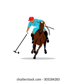 Polo Sport Player on Horseback with Stick sign. Vector Illustration. Branding Identity Corporate logo design template Isolated on a white background