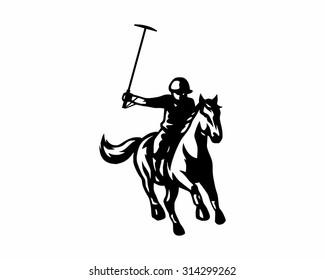 polo sport riding horse silhouette image vector