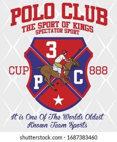 Polo sports club graphic design vector art