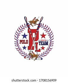 polo sports print embroidery graphic design vector art
