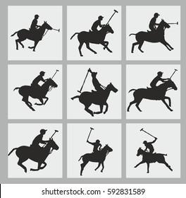 Polo sports team silhouette graphic design vector art