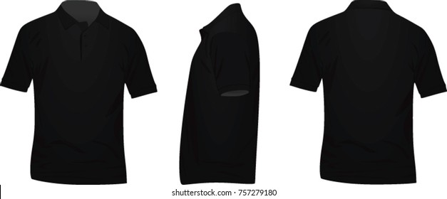 Polo t shirt. front, side and back view. vector illustration