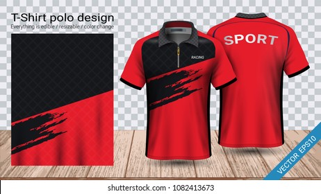 Polo t-shirt design with zipper, Soccer jersey sport mockup template for football kit or activewear uniform for your custom made team or any occasion, Everything is edible, resizable and color change.