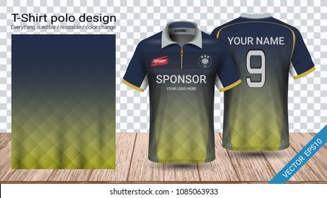 Polo t-shirt with zipper, Soccer jersey sport mockup template for football kit or activewear uniform for your team, school, company, or any occasion, Everything is edible, resizable and color change.