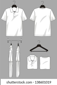 Polo-neck and t-shirt in different types for clothing store