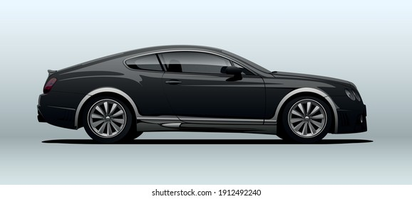 Poltava, Ukraine - February  08, 2021: Bentley Continental. View from side with perspective, vector illustration.