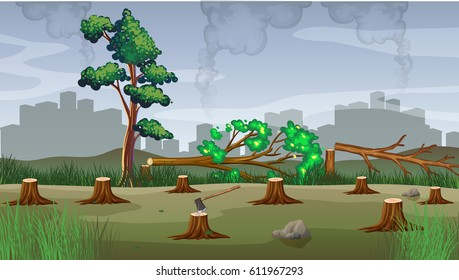 Polution theme with deforestation illustration