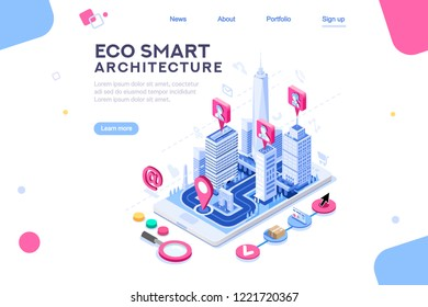 Poly center with skyscrapers, map for homepage, architecture ui or virtual dashboard. Tech build, engineers and systems on eco smart concept of city. Web page with isometric buildings on flat concept.