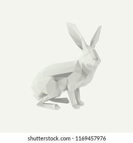 Poly White Rabbit Vector 3D Rendering