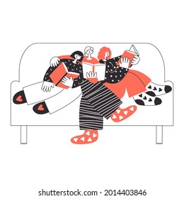 Polyamorous family reading together on sofa. Three lovers on a romantic Valentines date. Polygamy and bisexuality, happy non-monogamous open relationship concept. LGBT rights pride flat illustration