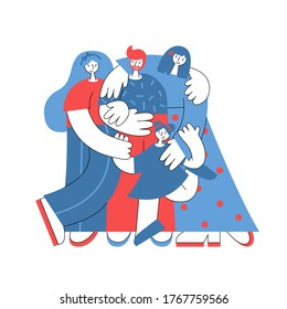 Polyamorous polygamous family with a child. Two women and one man hugging each other. Nonmonogamous relationship concept. LGBTQ pride. Vector flat illustration.