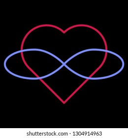 Polyamory Symbol. Heart and infinity. Endless love. Black background and linear style