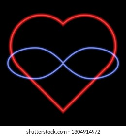 Polyamory Symbol. Heart and infinity. Endless love. Black background and neon style