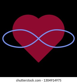 Polyamory Symbol. Heart and infinity. Endless love. Black background and red heart
