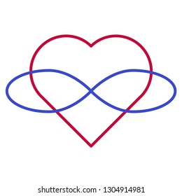 Polyamory Symbol. Heart and infinity. Endless love. White background and linear style